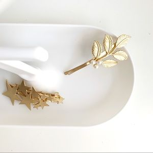 Accessories - Leaf hair clip with pearl